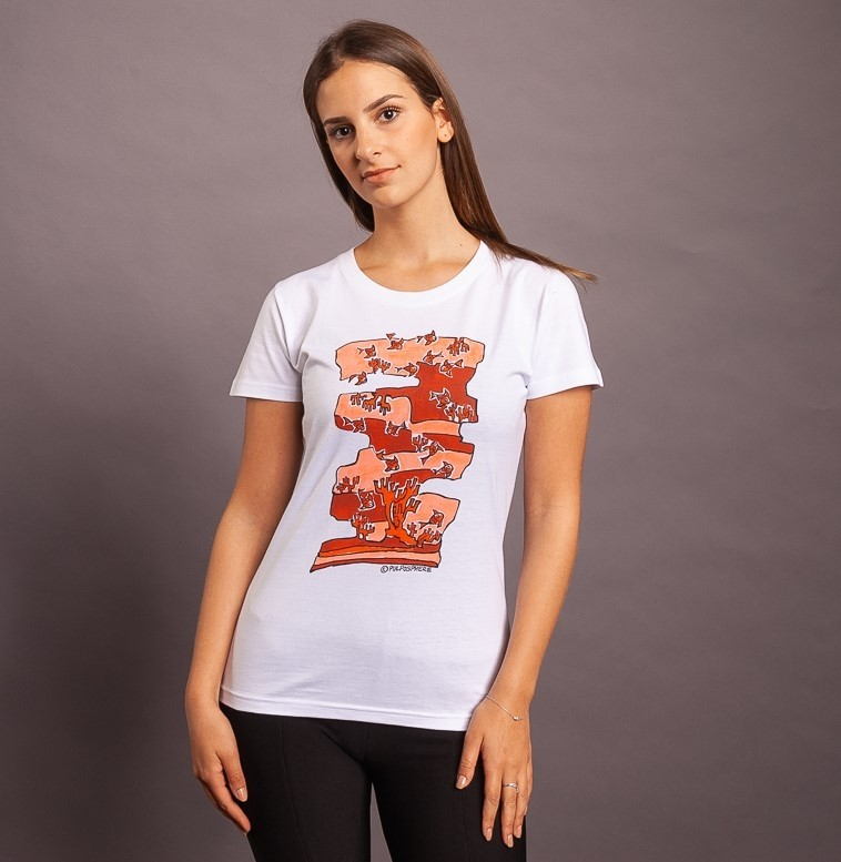 T-Shirt Fish Fish Camou, weiss/rot