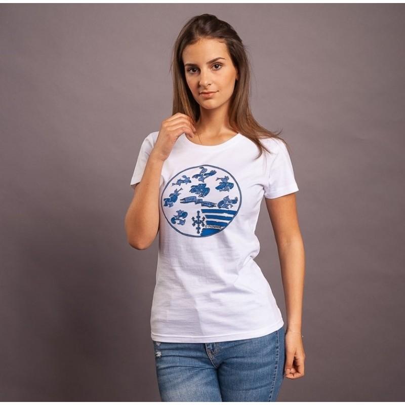 T-Shirt Toile De Jouy, weiss/blau