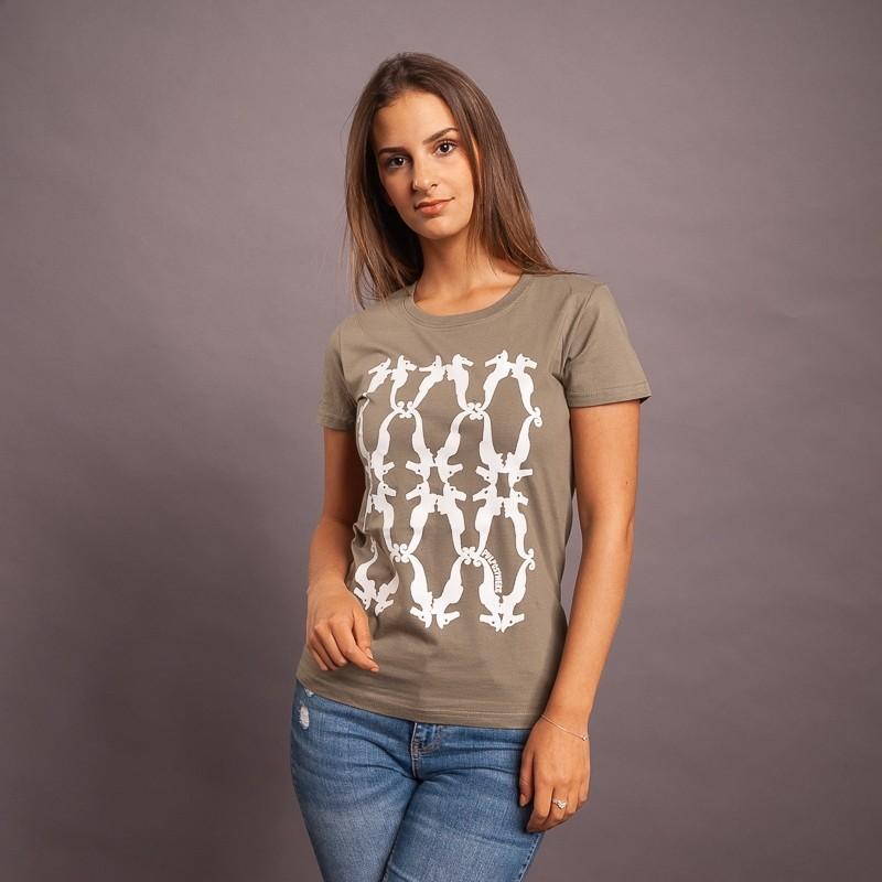 T-Shirt Seepferd/Raute, khaki/weiss